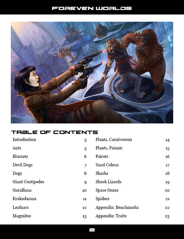 Foreven Worlds Creatures of Distant Worlds Table of Contents